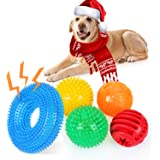 ENIBON Squeaky Dog Toy Balls 5 Pack, Interactive Chew Teething Ball Toys TPR with High Bounce Squeaker, Rubber Puzzle…