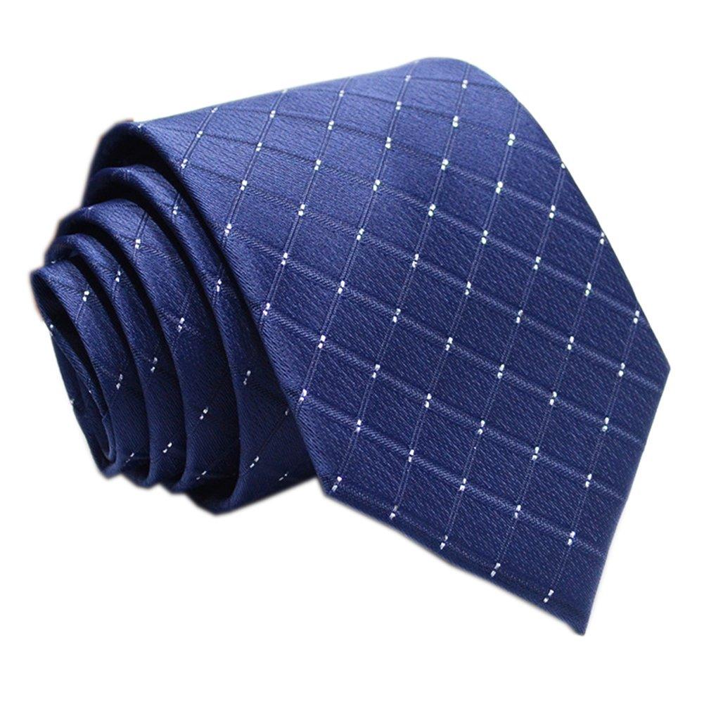 Mens Navy Blue Silk Ties Jacquard Woven Diamond Plaids Gentlemen Necktie Gifts