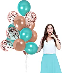 Valentines Day Party Supplies 44 Pack Rose Gold Turquoise Metallic Balloons 12 Inch Rose Gold Confetti Balloon for Bridal Shower Wedding Engagement Party Birthday Graduation Party Decorations