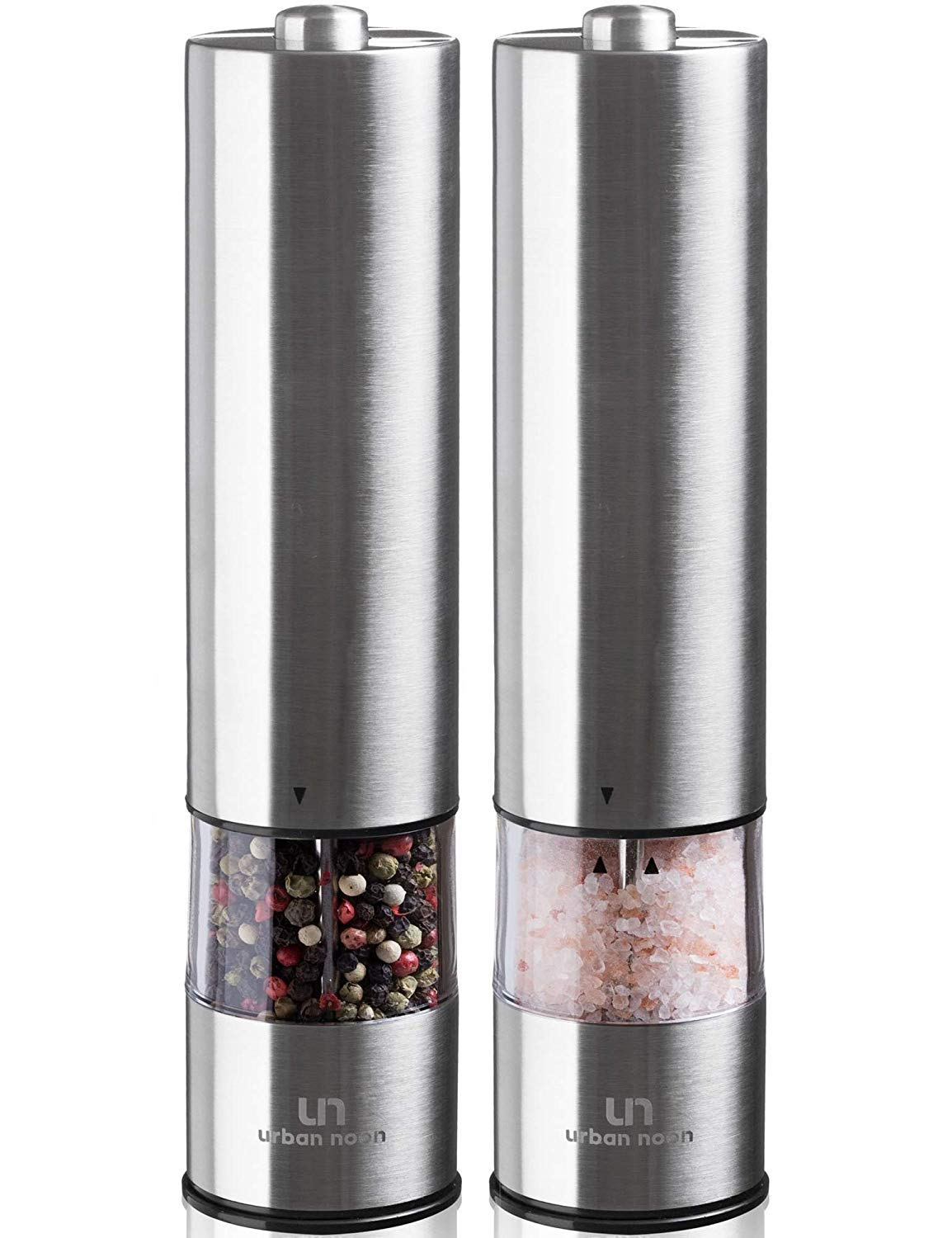 Electric Salt and Pepper Grinder Set - Battery Operated Stainless Steel Mill with Light (Pack of 2 Mills) - Automatic One Handed Operation - Electronic Adjustable Shakers - Ceramic Grinders by urban noon