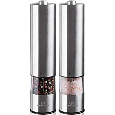 Electric Salt and Pepper Grinder Set - Battery Operated Stainless Steel Mill with Light (Pack of 2 Mills) - Automatic One Handed Operation - Electronic Adjustable Shakers - Ceramic Grinders