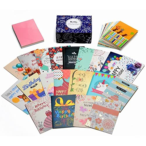 Birthday Cards Box Set Of 40 AssortedUnique Designs And Gold Embellishments HonWally Premium