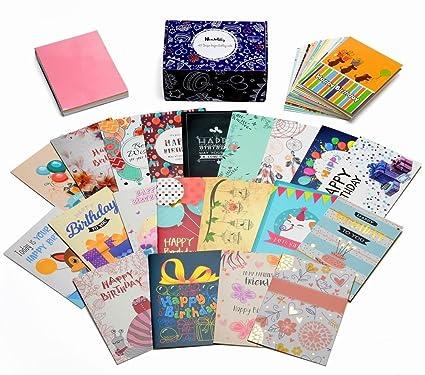 Caja de tarjetas de cumpleaños Juego de 40 diseños únicos y adornos de oro surtidos, paquete de surtido de cumpleaños HonWally Premium con 40 sobres ...