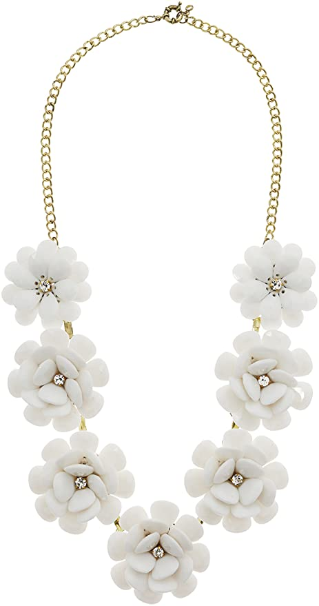 Amazon charmed craft fashion sexy white flower statement charmed craft fashion sexy white flower statement necklace for women chunky collar choker chain jewelry mightylinksfo