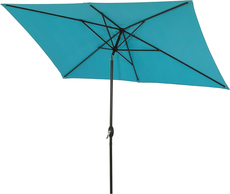 Aok Garden 6.5x10 ft Rectangular Patio Umbrella Outdoor Market Table Umbrella with Tilt and Crank 6 Sturdy Ribs for Deck Lawn Pool, Lake Blue