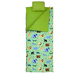 Wildkin Original Sleeping Bag, Features Matching Travel Pillow and Coordinating Storage Bag, Perfect for Sleeping On-The-Go, Olive Kids Design – Wild Animals