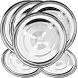 Prisha India Craft Stainless Steel Dinner Plates Thali (Diameter 10.000-inch) - 6 Pieces