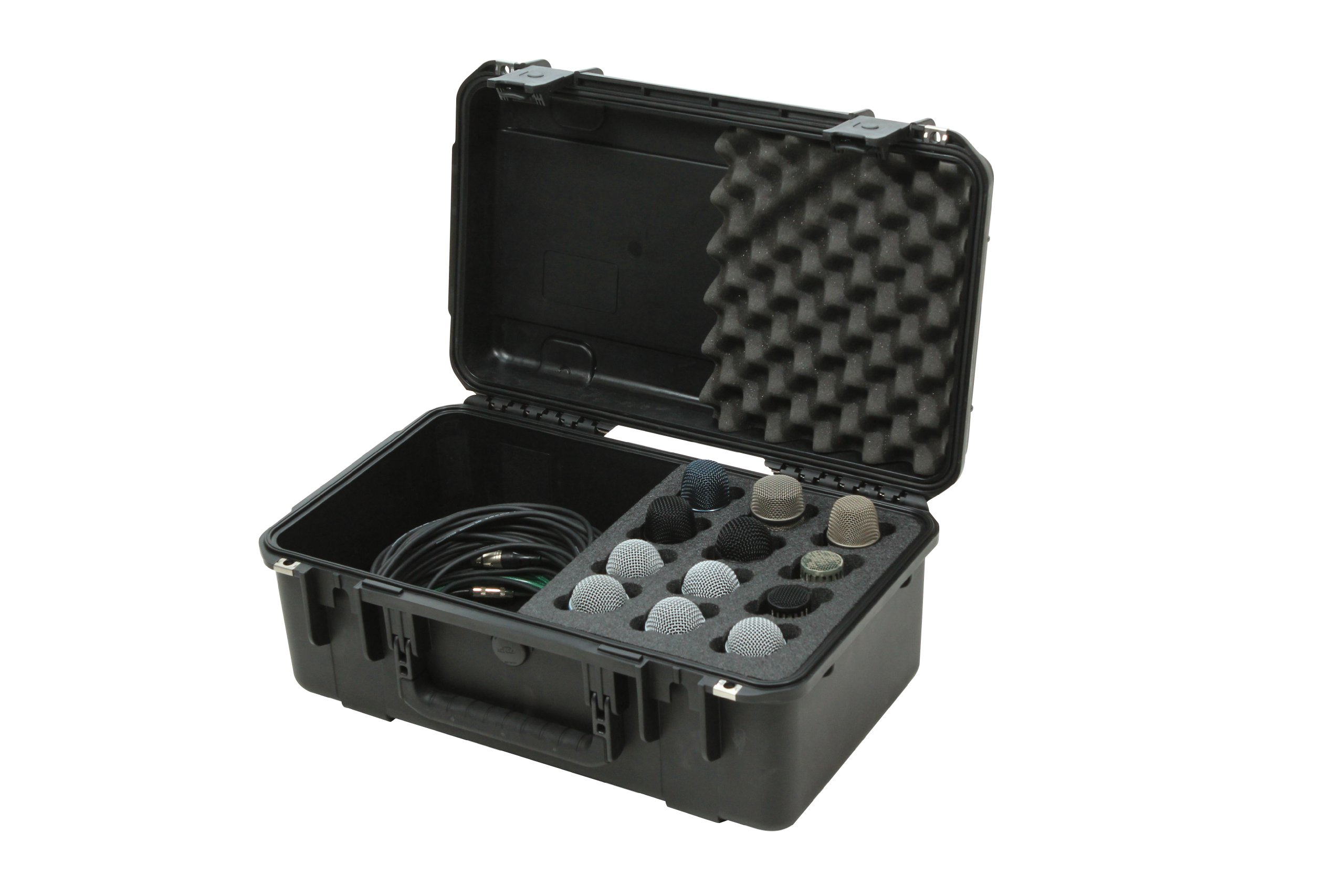 SKB 3I-2011-MC12 iSeries Injection Molded Microphone Case with Foam for 12 Mics with Storage Compartment