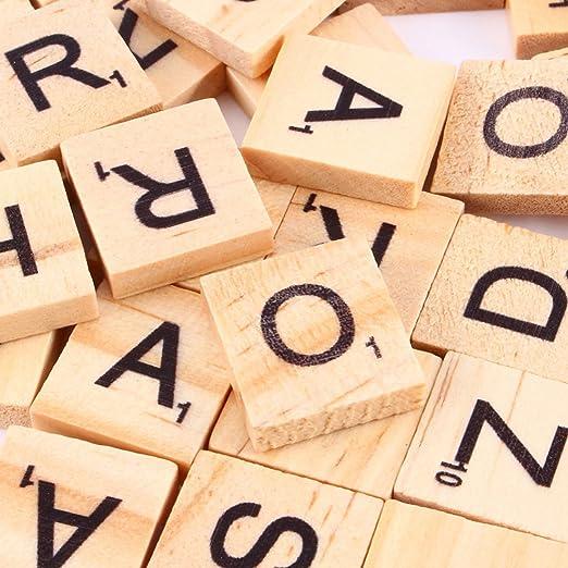 BestMall 100 Letras y números de Madera para Scrabble: Amazon.es: Hogar