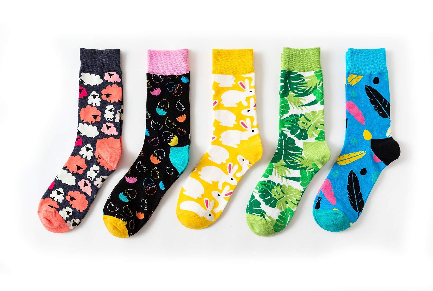 Maplewel Womens Winter Soft Warm Comfort Fun Colorful Crew Socks 5 Pairs