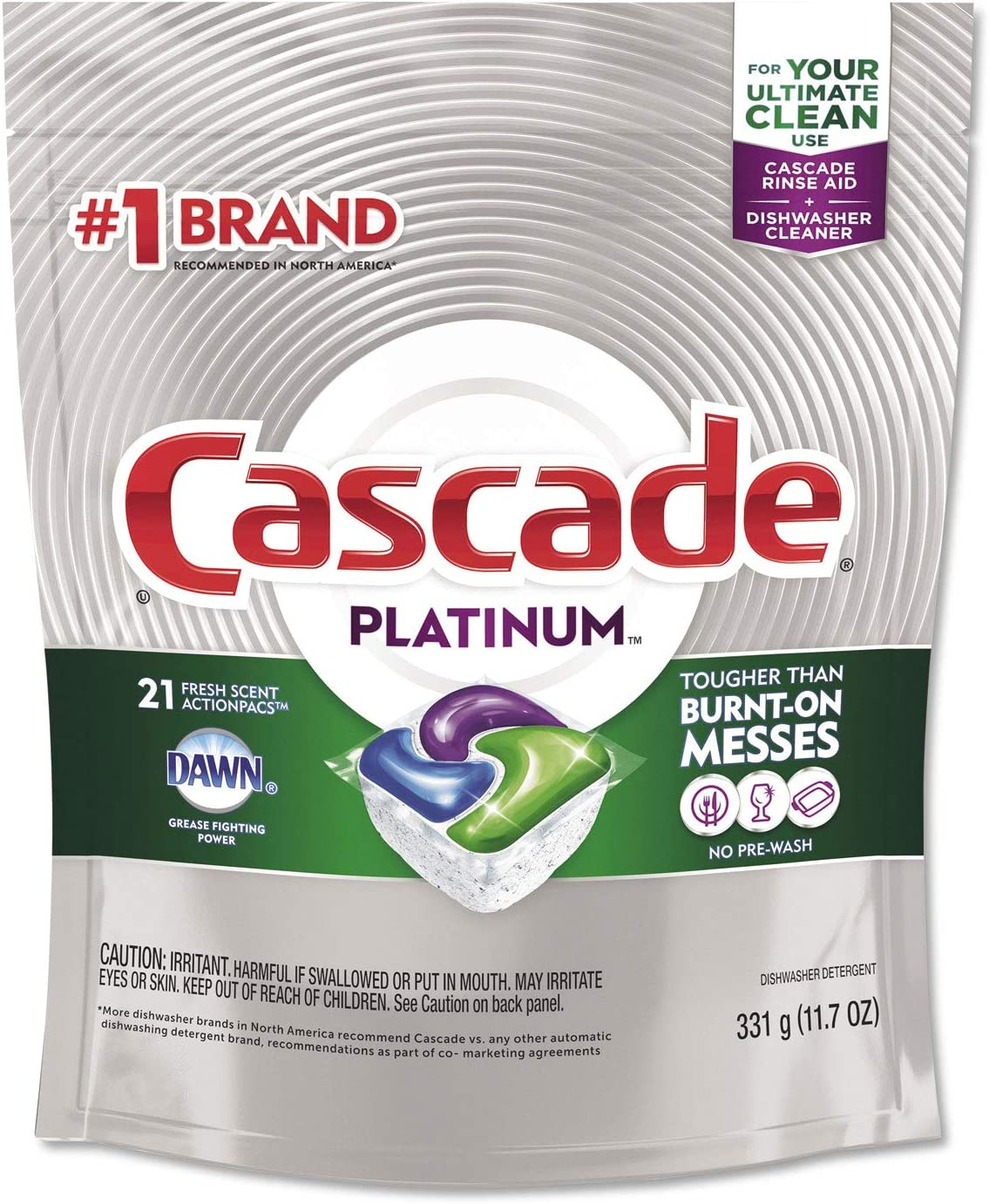 Cascade Platinum ActionPacs Dishwasher Detergent, Fresh Scent, Pack of 21 Pods
