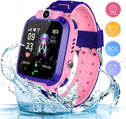 Smart Watch for Kids Waterproof LBS Tracker, Kids Watches Boys Girls with 1.44 inch Touch Screen 2-Way Calling SOS Alarm Clock Camera Kids Smartwatch ...