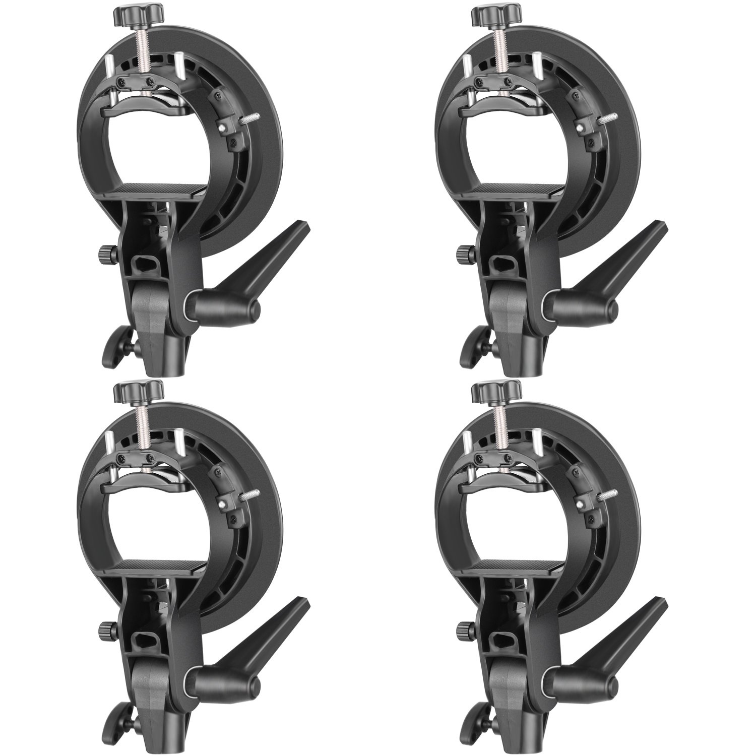 Neewer 4 Packs S-Type Bracket Holder with Bowens Mount for Speedlite Flash Snoot Softbox Beauty Dish Reflector Umbrella by Neewer
