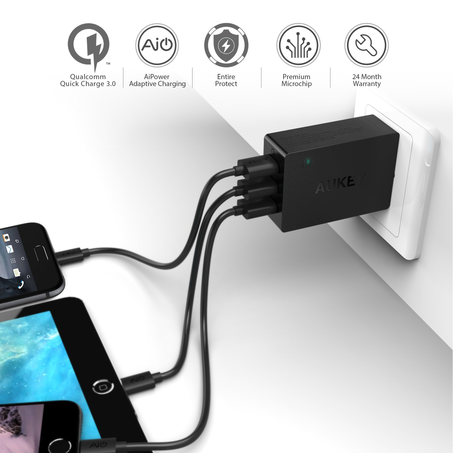iphone quick charge. amazon.com: quick charge 3.0 aukey 43.5w usb wall charger with 3 ports \u0026 foldable plug for samsung galaxy note8, lg g6 / v30, iphone x 8 plus and iphone b