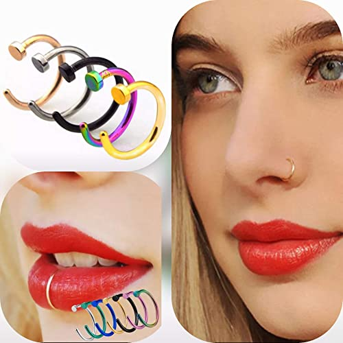 Amazon Com Fake Nose Ring Hoop 20g 6mm 8mm Faux Piercing