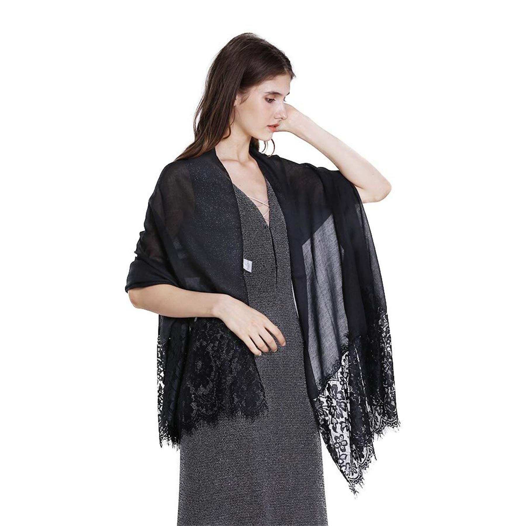 Women Fashion Scarf Wrap Shawl,RiscaWin Autumn Soft Lightweight Lace Scarves Wrap Warm Scarf(Black) by RiscaWin (Image #6)
