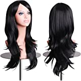 """EmaxDesign Wigs 70 cm / 28"""" ~ High-Quality Cosplay Wig For Women. Long, Full, Curly, Big Wavy, & Heat Resistant. Fashion Glamour Hairpiece with Free Wig Cap & Wig Comb (Color: Black)"""