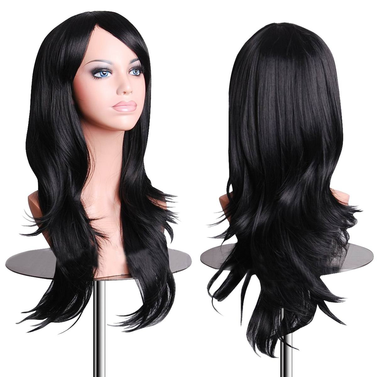 EmaxDesign Wigs 70 cm/28 ~ di alta qualità Cosplay parrucca per le donne lunga ricci e ondulati resistente al calore Fashion Glamour Hairpiece con parrucca e Parrucca pettine (colore: nero) WI704B