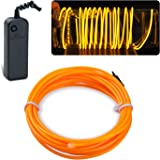 Lychee 15ft 5m Neon Glowing Strobing Electroluminescent Light El Wire Battery Pack for Parties Halloween Decoration (Yellow)