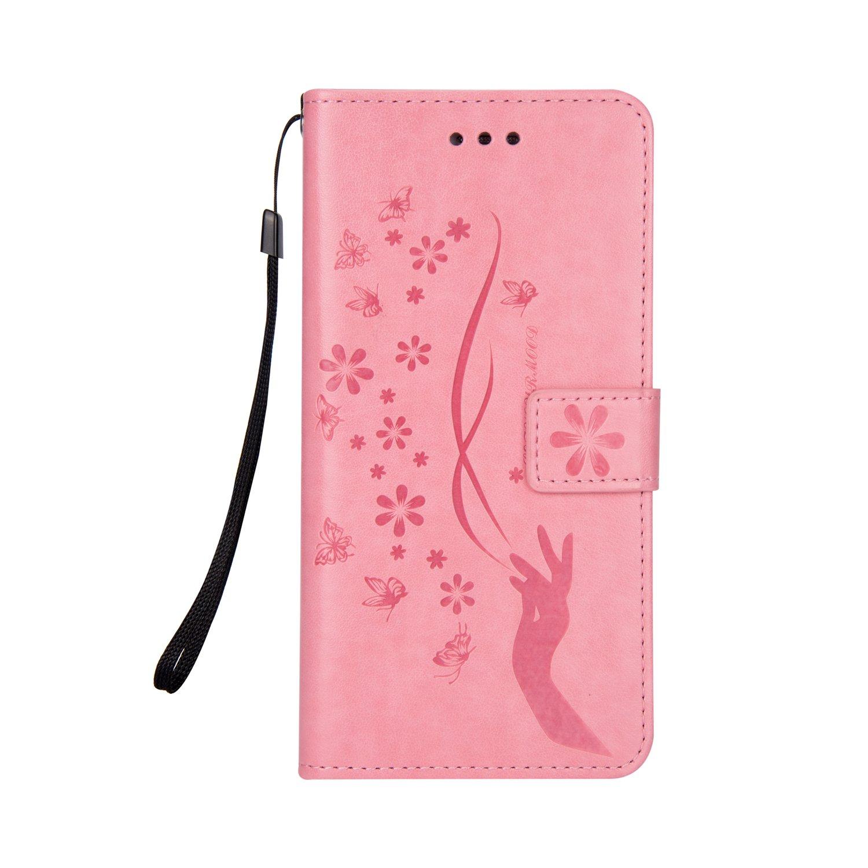 Sycode Galaxy A5 2017 H/ülle,Galaxy A5 2017 Case,Galaxy A5 2017 Schutzh/ülle,Floral Schmetterling Blume Finger Muster Lederh/ülle H/ülle f/ür Samsung Galaxy A5 2017-Schwarz