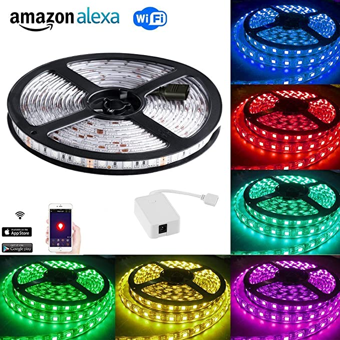 Smart LED Strip Light Work with Android and IOS System,Amazon Alexa,APP and  Voice control: Turn on/off ,Dimming light and Voice Change color,5M/16 4