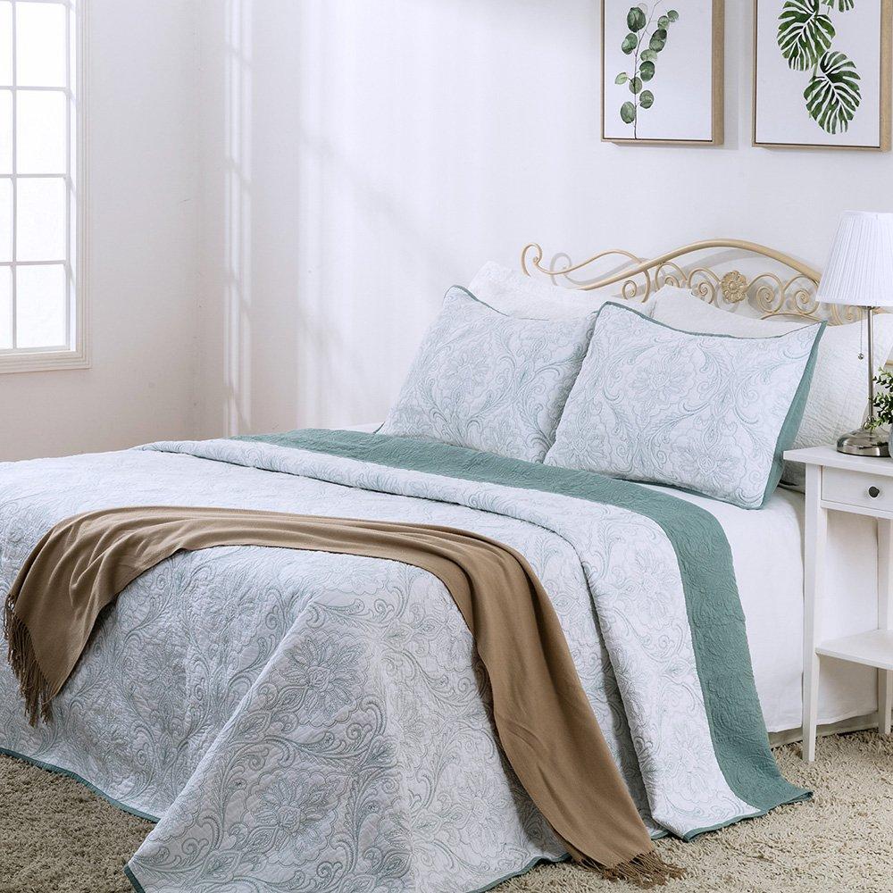 エレガントなLife Prewashed 100 %コットンダマスカスソリッドベッドキルト刺繍と枕シャムセット Queen Quilt ホワイト B075D8B5ZP Queen Quilt|ホワイト ホワイト Queen Quilt