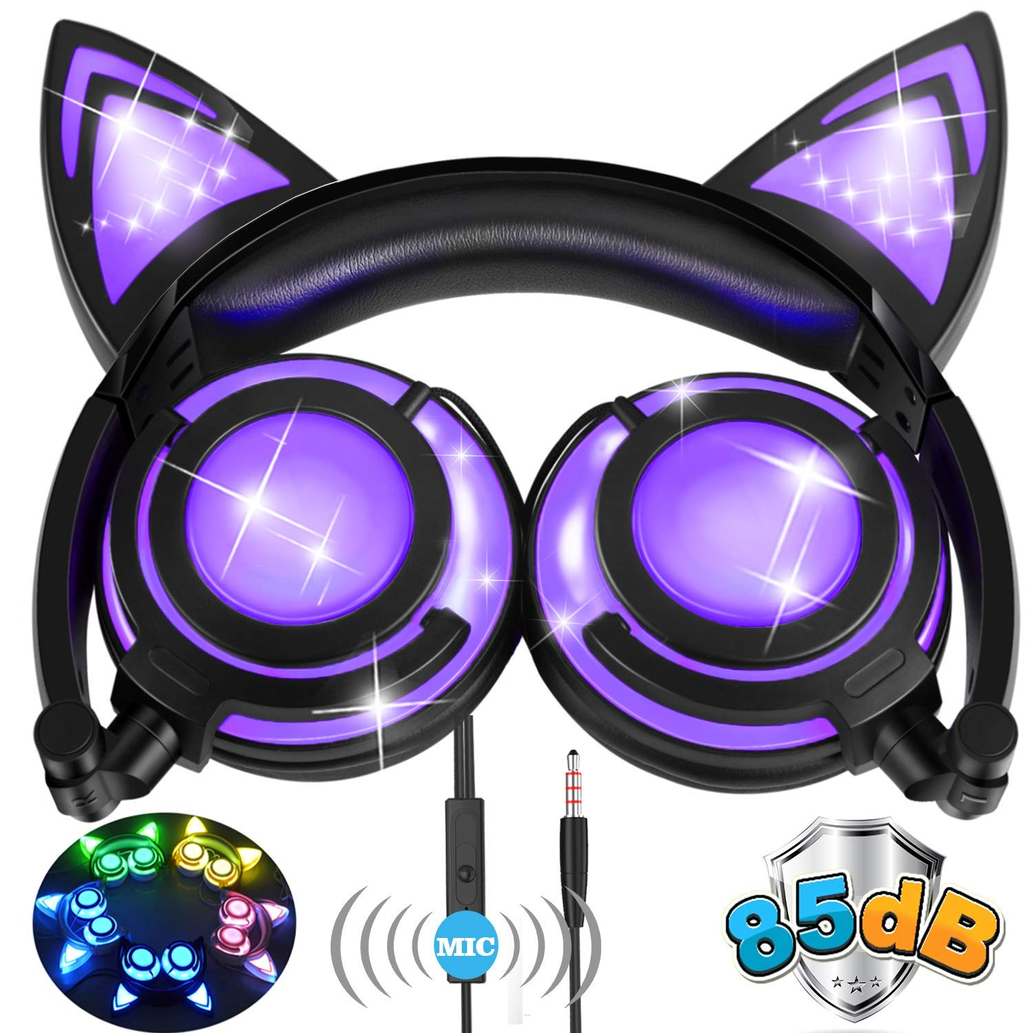 Kids Headphones for Girls Boys Cat Headphones with Mic LED Light 85dB Volume Limited AMENON Foldable Over/On Ear Headsets for Girls Boys Children Phone Tablet School Travel Outdoor Musical Device