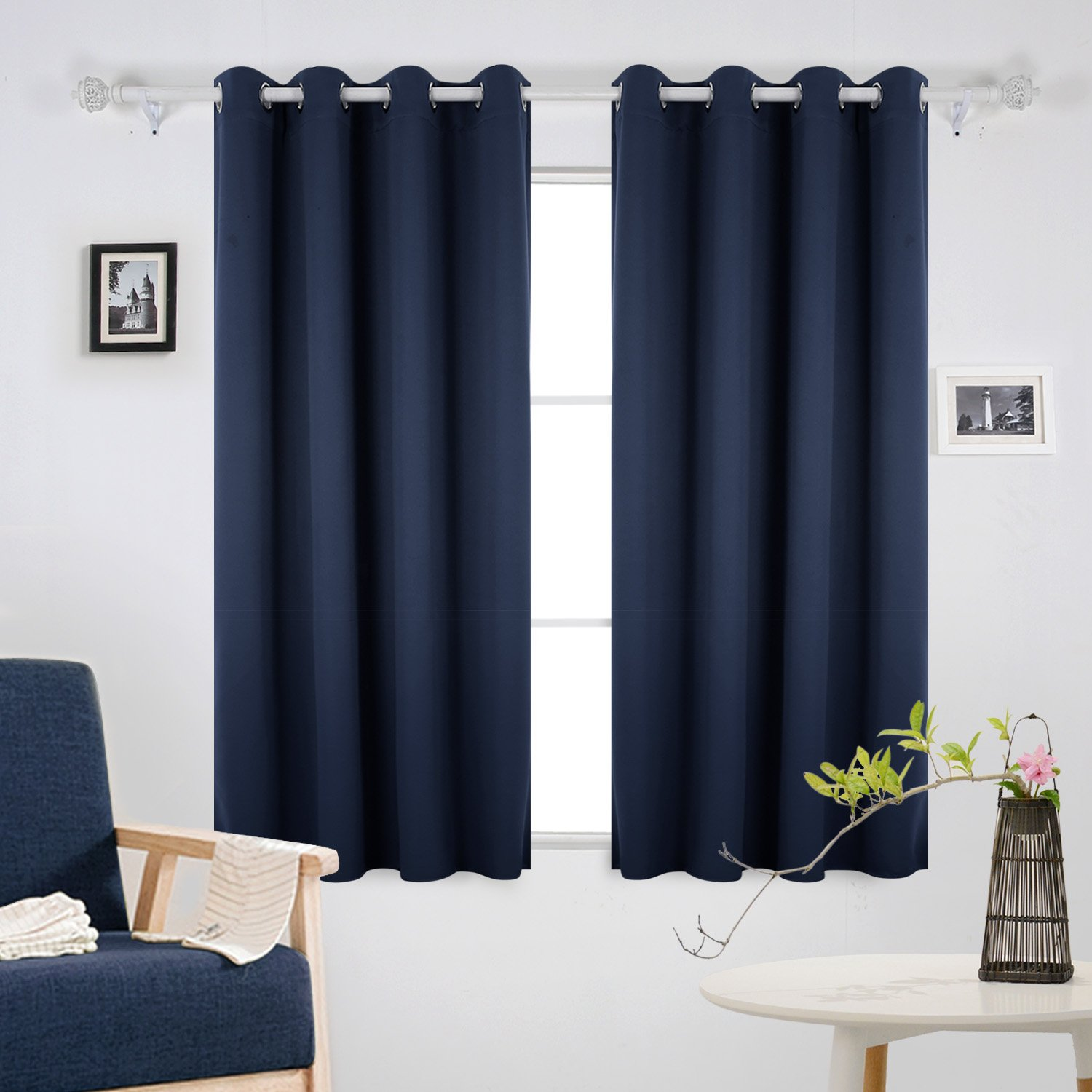 Deconovo Window Thermal Insulated Grommet Blackout Curtains Drapes Panels For Girls Room Navy Blue