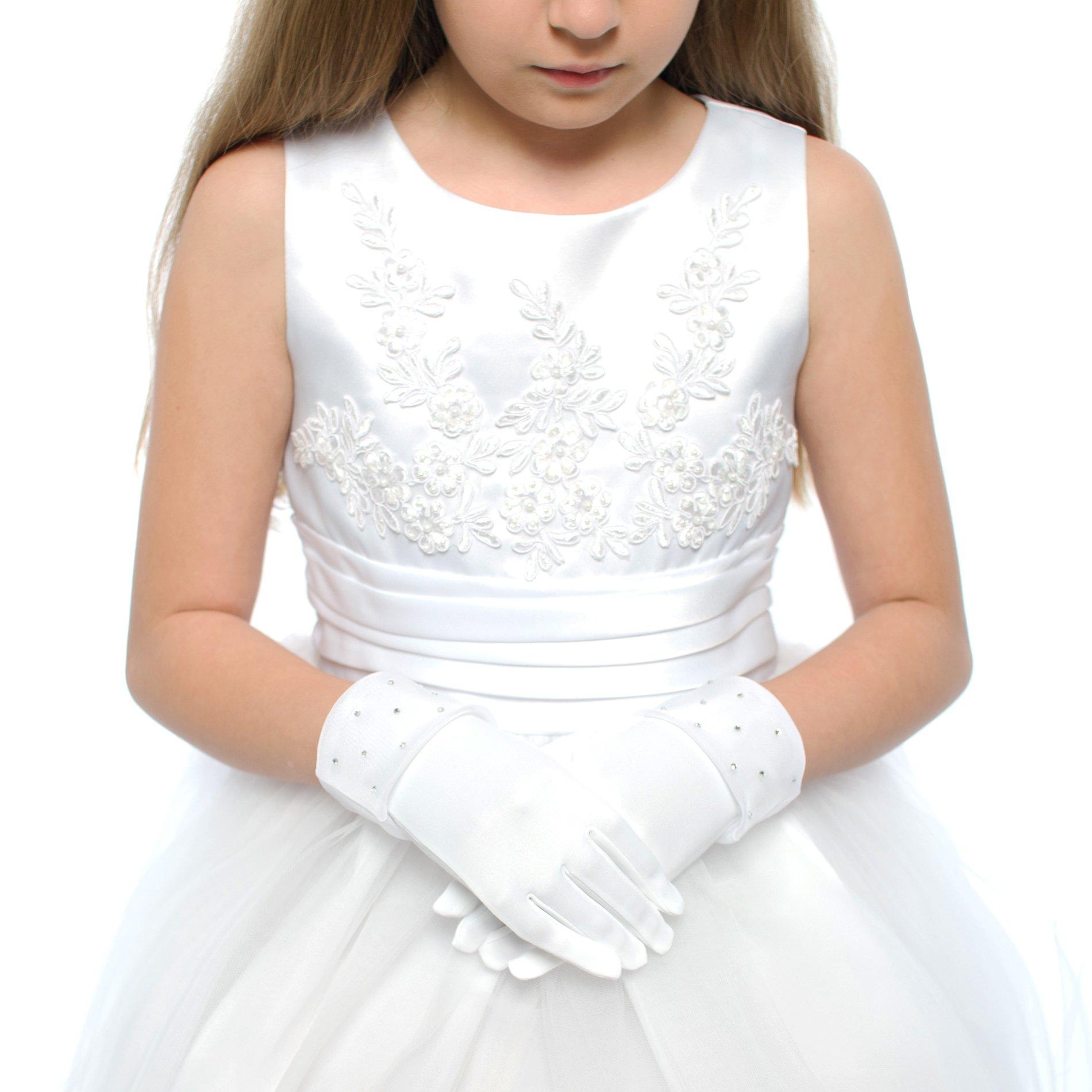 DressForLess Lovely Rhinestones Lace First Communion Girls Glove, White, 8-14, (TT-RSG-WT-8)
