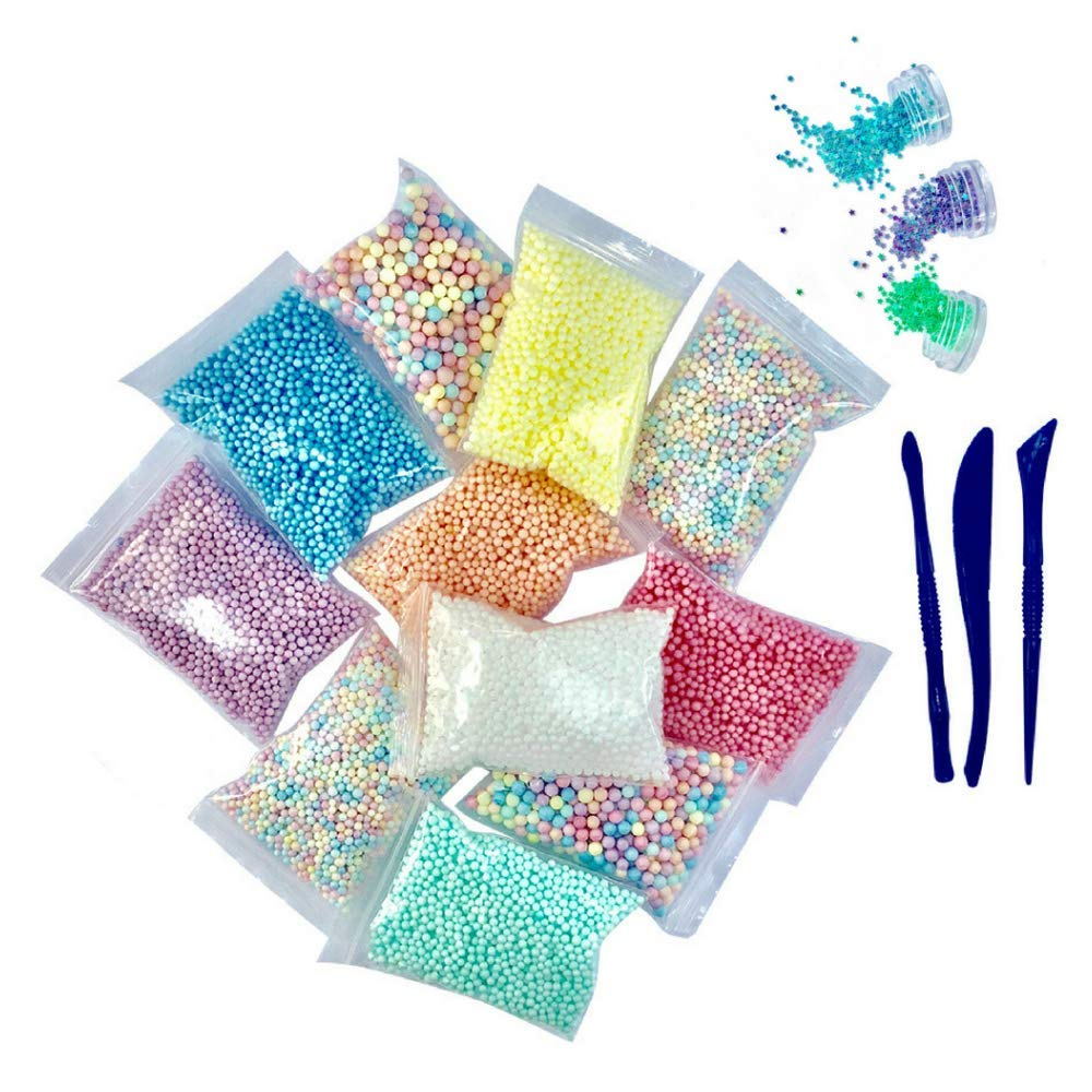 Foam Beads for Slime 15 Pack Supplies Kit - Include Rainbow Pastel Colors Foam Balls & Confetti Stars + Slime Tools Set | Perfect for Your Kids DIY Homemade Slime Art Craft Decorations by SMM'sWorld