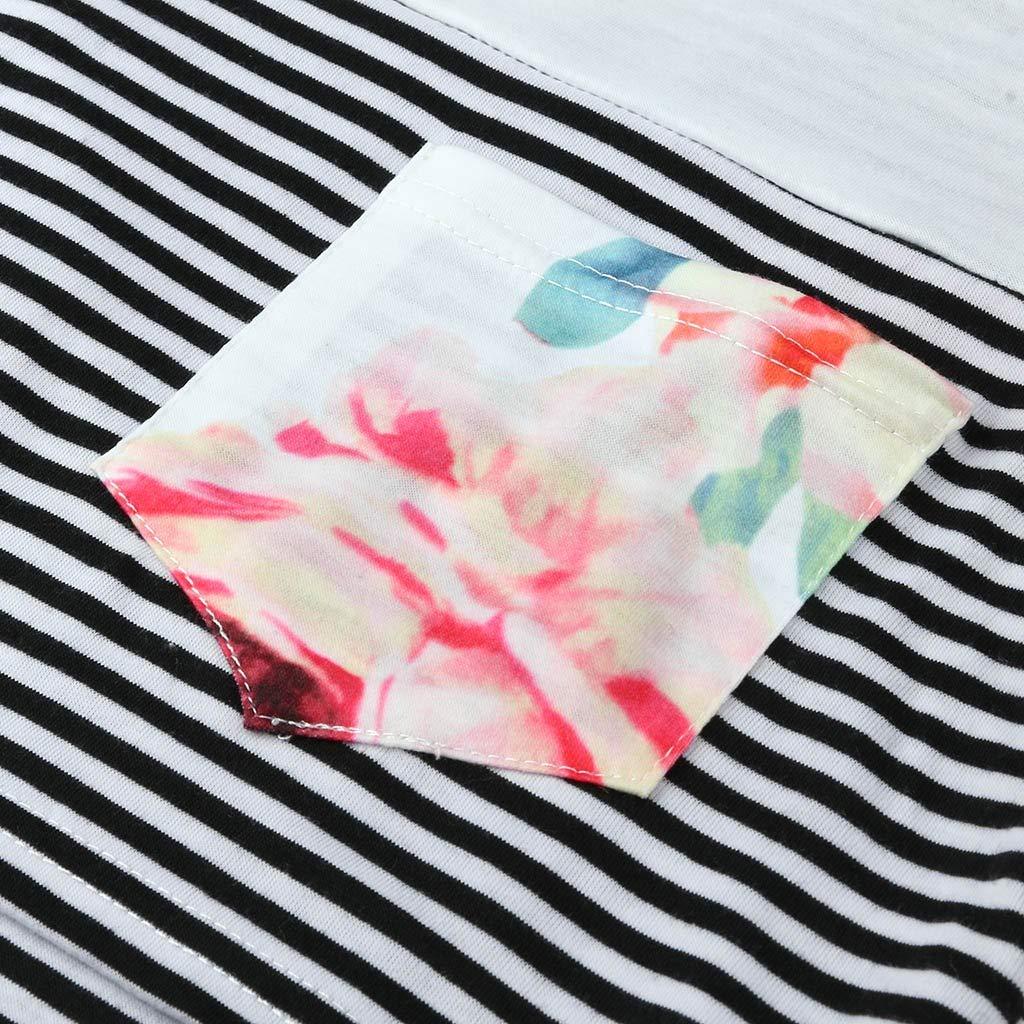 Huhu833 Damen Still-Shirt//Umstandstop Mutterschaft bequem Double Layer Blumenstreifen Kurzarm T-Shirt Schwangerschaft Stillen Nursing Multifunktion Tops Bluse
