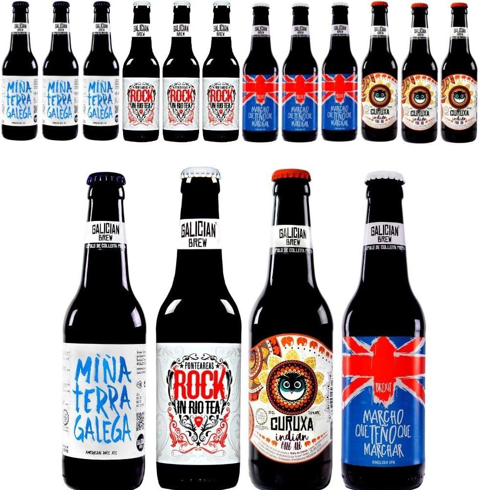 Pack 12 cervezas artesanas Galician Brew. Incluye Rock In Río Tea, Medalla de Bronce Barcelona Beer Challenge 2018