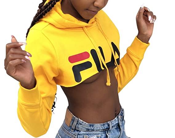 6bdd0e9c Fila Nelia Shrug Super Cropped Hoodie Mustard Yellow at Amazon ...