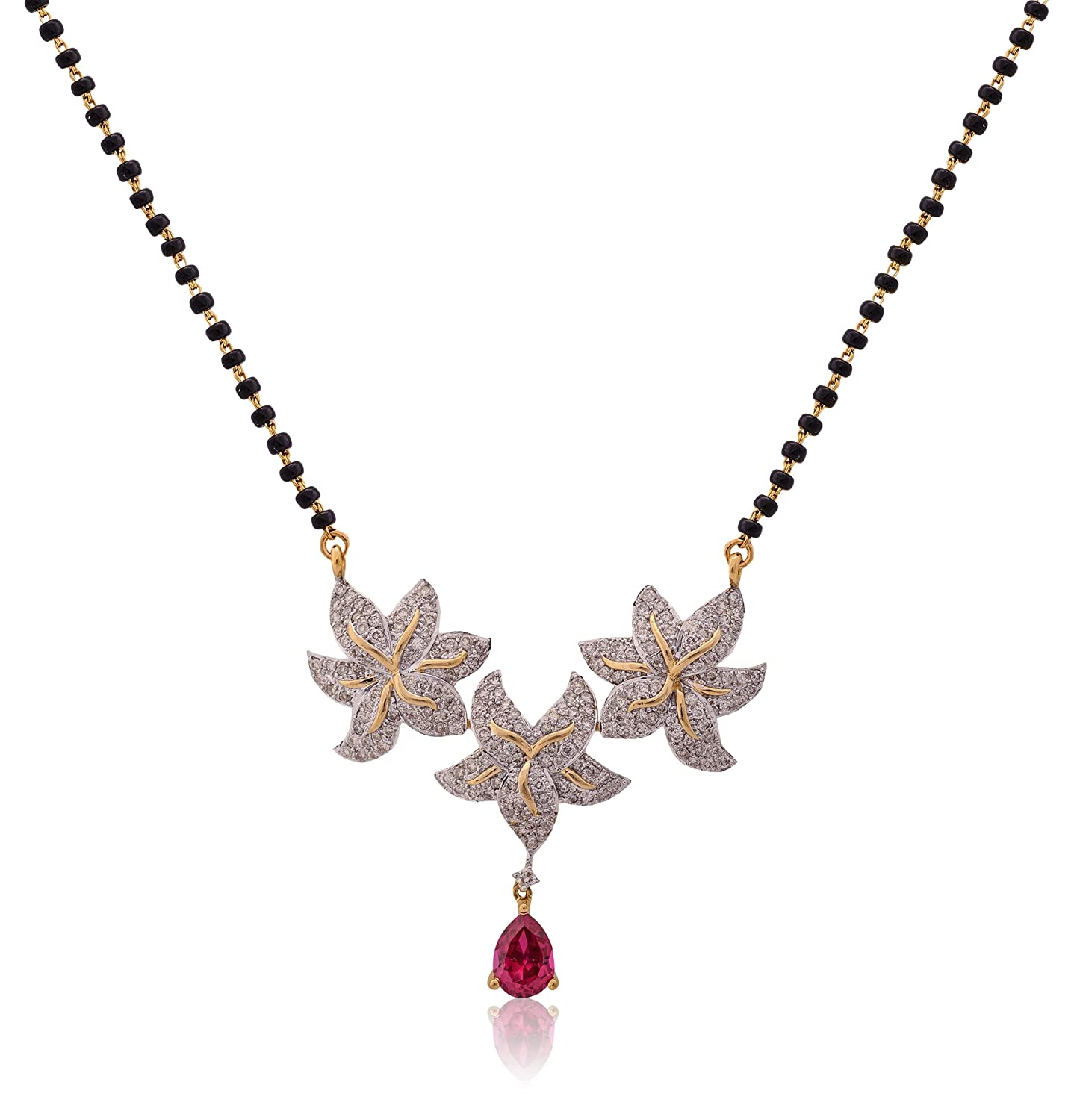 Buy Senco Gold 18k Yellow Gold and Diamond Mangalsutra Necklace ...