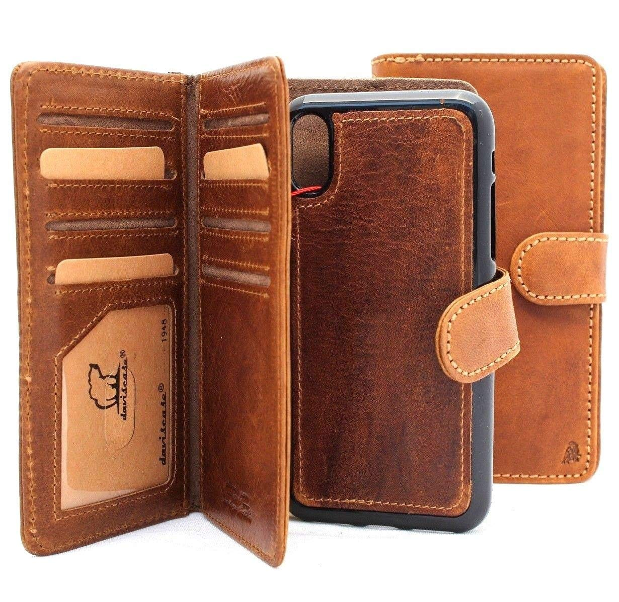 Genuine Leather Case for iPhone Xs max Book Wallet Handmade Cover Luxury Cards Slots Magnetic Holder Closure Vintage Detachable DavisCase pro B26 xsmax