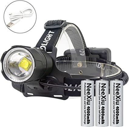Super Bright Waterproof Bulb Head Torch Headlight Mains Car Rechargeable