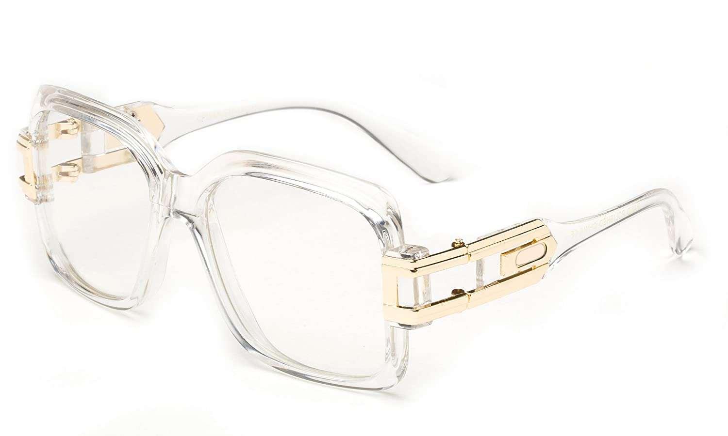 Tainted Oversized High Fashion Flat Top Metal Chain Arm Clear Lens Flat Top Aviator Glasses Newbee Fashion
