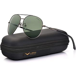 1ec7abdea4c LUENX Mens Womens Sunglasses Aviator Polarized Dark Green Lens Gun Metal  Frame - UV 400 Protection