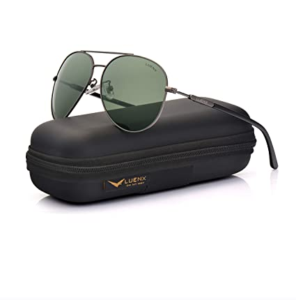 cd08ae77c32ee Image Unavailable. Image not available for. Color  LUENX Mens Womens Sunglasses  Aviator Polarized Dark Green Lens Gun Metal Frame - UV 400 Protection