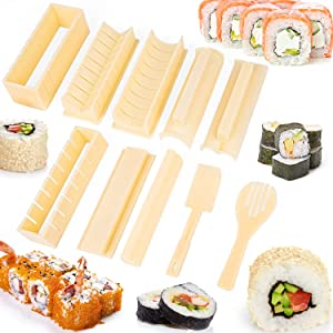 Sushi Making Kit 8 Plastic Shapes Sushi Rice Roll Mold, 1 Rice Fork, 1 Spatula, All In One Suhsi Maker Tool, DIY Sushi shaped Set for Beginners Chef Kids