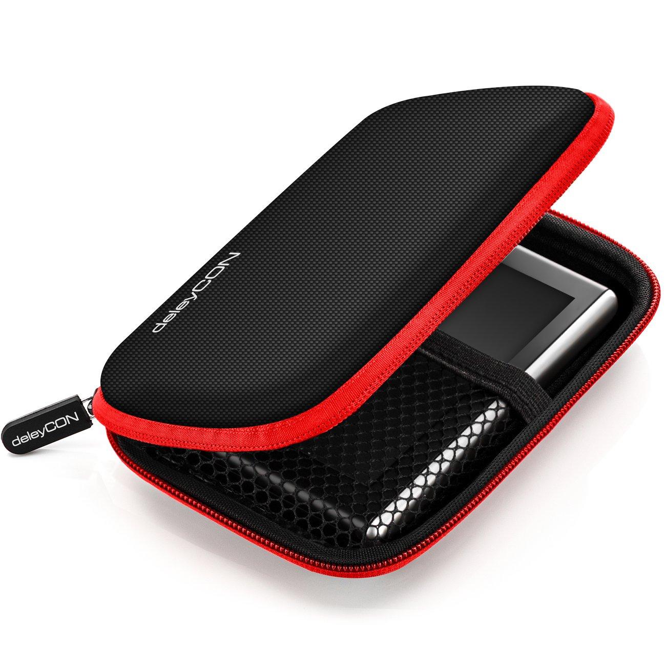 deleyCON MK-MK1581 14,6x9,3x3,4cm rojo Navi Case // Funda para dispositivos de navegaci/ón de hasta 4,3 /& 5