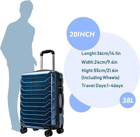CarryOne PC ABS Bagages Cabine avec verrou TSA int/égr/é Valise 20 Pouces,Pratique Durable Valise cabine-TD5-55cm(Bleu)