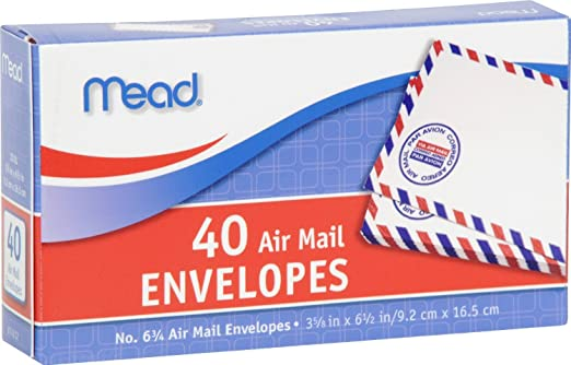 amazon com mead 6 3 4 air mail envelopes 40 count 74212