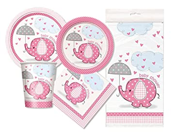 amazon pink elephant baby shower party package serves 16 pink
