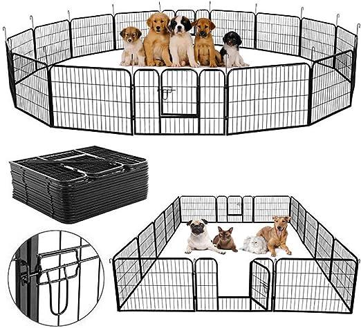 Homgrace - Valla para perro, perro, cachorro, ejercicio, puerta de valla de juego, bolígrafo de metal resistente para mascotas, gato, al aire libre/interior, valla 16 paneles: Amazon.es: Jardín
