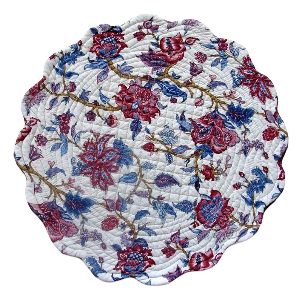 "Unique & Custom {17'' Inch} Single Pack of Round ""Non-Slip Grip Texture"" Large Reversible Table Placemat Made of Washable 100% Cotton w/ Country Botanical Quilted Design [Colorful White & Red]"