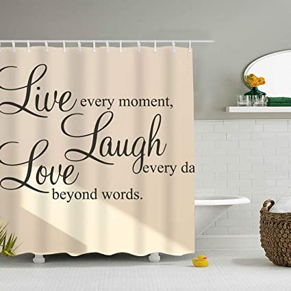 Image Unavailable Not Available For Color Dreamting Bathroom Shower Curtain Live Laugh Love