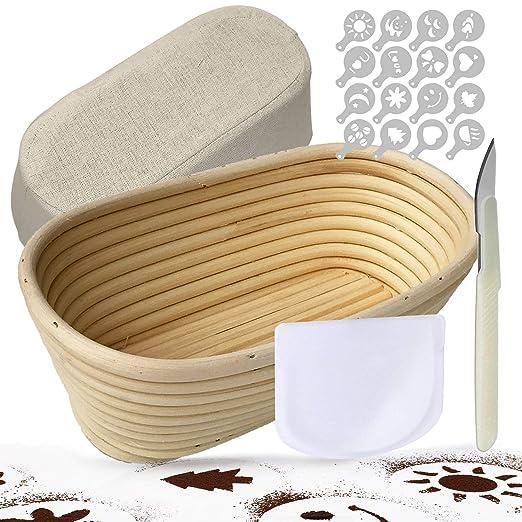 Banneton Oval 25 cm Banneton Para Pan Kit De Pan, Incluye Herramienta De Puntuación Para Masa De Masa, Rascador De Cuencos, Cubierta De Banneton De ...