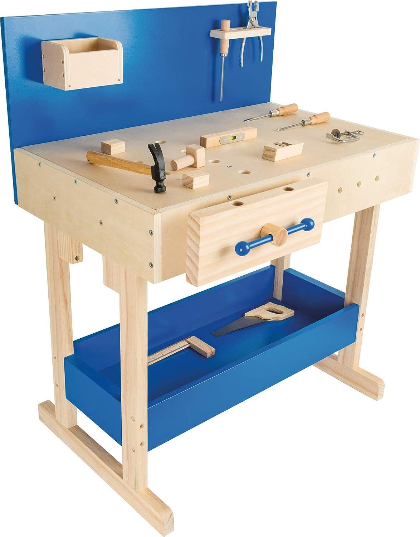 Small Foot Werkbank ab 8 Jahren - Kinderwerkbank mit echtem Werkzeug
