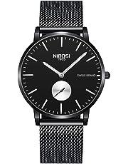 NIBOSI Mens Watches Fashion Classic Luxury Waterproof Quartz Stainless Steel Wrist Watch for Men